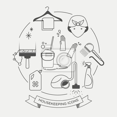 Vektor-grafik-icon-set von reinigung und hauswirtschaft fototapete ...