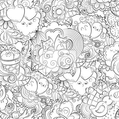 Vektor hand gezeichnet herzen, katze, ballon, wolke, erdbeere ...