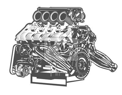 Vektor hohe detaillierte darstellung der abstrakten motor fototapete ...