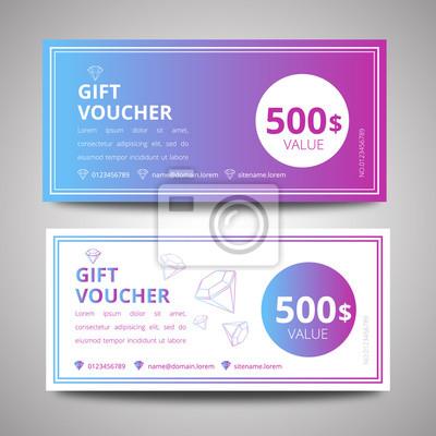 Vektor-illustration, bunte geschenk-gutschein-vorlage, geschenk ...