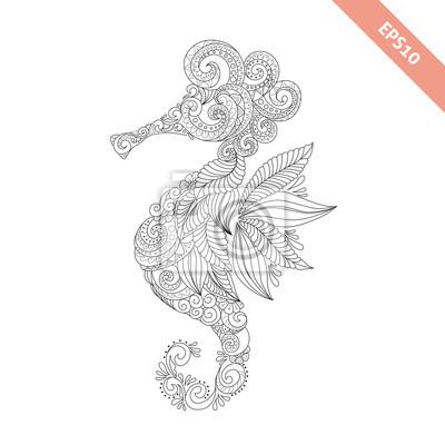 Vektor-illustration cartoon meer-pferd mit floralen doodle ornament ...