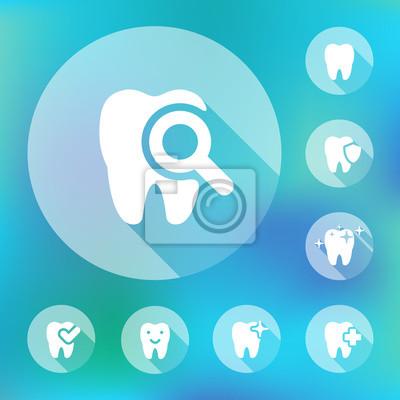 Vektor-Illustration der dental icons in flachen Stil gesetzt