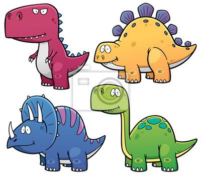 Fototapete Vektor Illustration Der Dinosaurier Cartoon Figuren