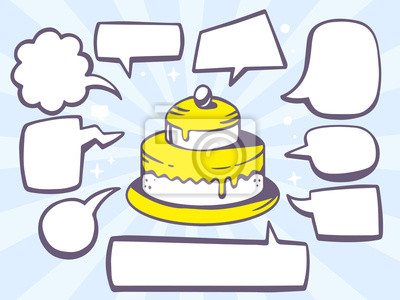 Vektor Illustration Der Kuchen Mit Sprach Comics Blasen Auf Blauem