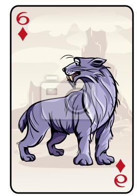 Vektor-Illustration der Spielkarten mit prähistorischen Panther