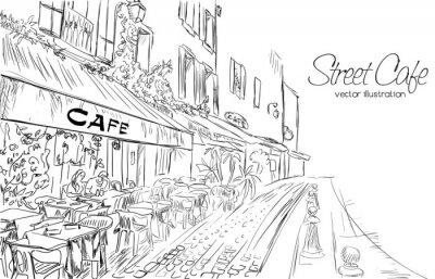 Fototapete Vektor-Illustration der Straße Café