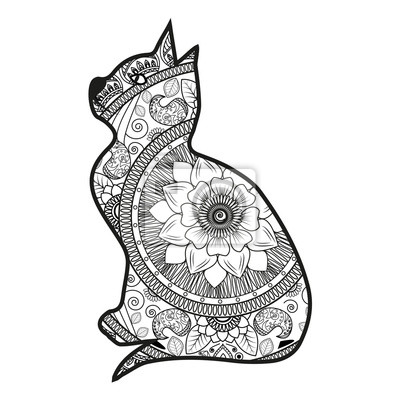 Vektor Illustration Einer Katze Mandala Für Malbuch Gatto Mandala