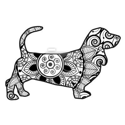 Vektor Illustration Eines Hundes Mandala Für Malbuch Zuckerrohr
