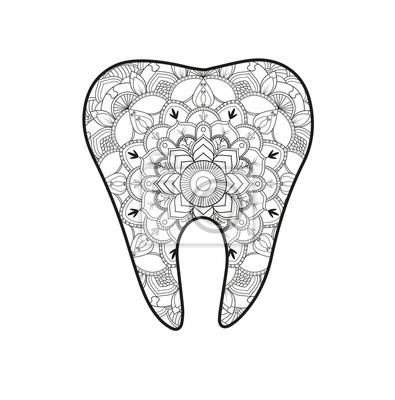 Vektor Illustration Eines Zahn Mandala Für Malbuch Dente Mandala