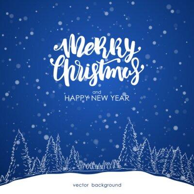 Frohe Weihnachten Und Happy New Year.Fototapete Vektor Illustration Frohe Weihnachten Und Happy New Year Hand