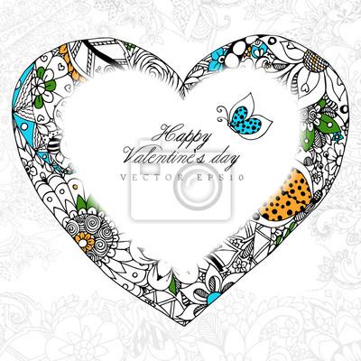 Vektor-illustration grußkarte glückliche valentinstag herz zentangl ...