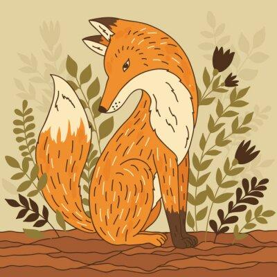 Fototapete Vektor-Illustration mit Fuchs