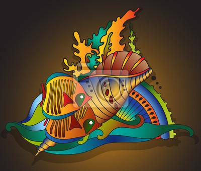 Vektor-Illustration mit Unterwasserwelt