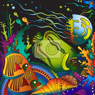 Vektor-Illustration mit Unterwasserwelt der tropischen Meer