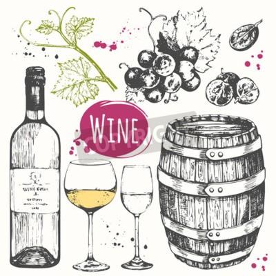 Fototapete Vektor-Illustration mit Wein Fass, Weinglas, Trauben, Weintraube Zweig. Klassisches alkoholisches Getränk.