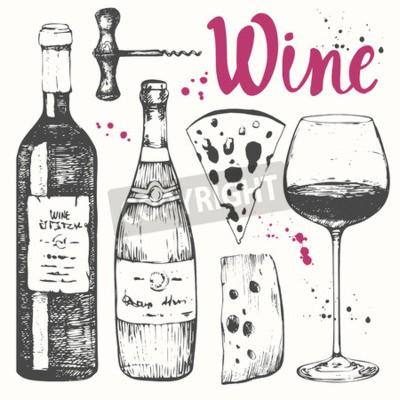 Fototapete Vektor-Illustration mit Weinglas, Korkenzieher, Flasche, Champagner, Käse. Klassisches alkoholisches Getränk.