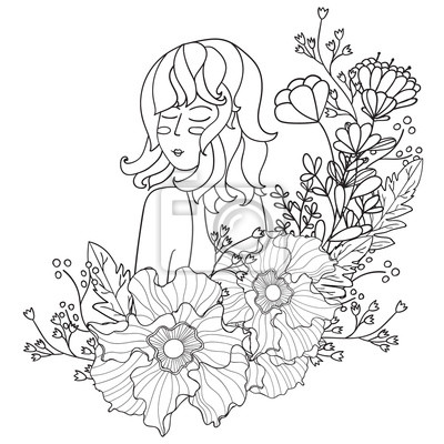 Vektor-illustration schwarz-weiß-frau mit blumen. malvorlagen ...