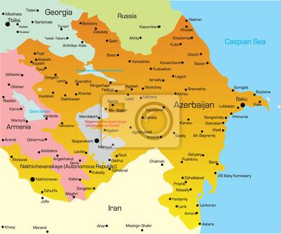 Baku Aserbaidschan Karte.Fototapete Vektor Illustration Von Aserbaidschan Karte