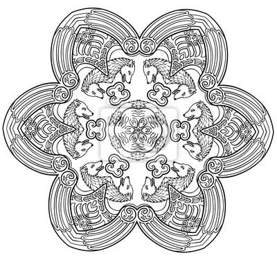 Vektor Illustration Von Dekorativen Wolf Mandala Schwarz Und