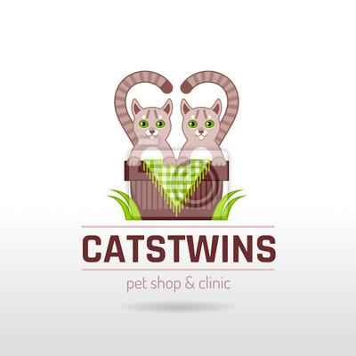 Vektor-illustration von funny cute katzen zwillinge paar sitzung ...