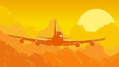 Fototapete Vektor-Illustration von Himmel und Wolken mit fliegenden Flugzeugen.