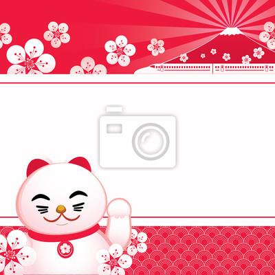 Vektor-Illustration von Sakura-Blüte mit japanischen glücklichen Katze und Fuji-Berg.