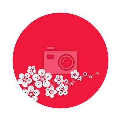 Vektor-Illustration von Sakura-Blüte mit roten Sonne Hintergrund, Kirschblüte Vektor.