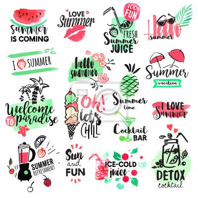 Vektor-illustrationen für sommerurlaub, reisebüro, restaurant ...
