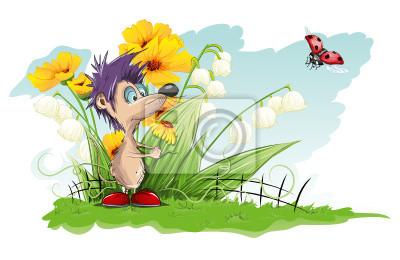 Vektor-Karte mit Blumen und kleine Maus