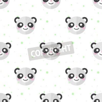 Fototapete Vektor lustige flache Karikatur Panda Köpfe nahtlose Muster. Panda Hintergrund.