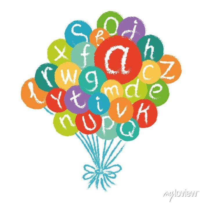 Fototapete Vektor lustiges englisches Alphabet. Hand gezeichnet Kreide wie Buchstaben in bunten Kreisen.