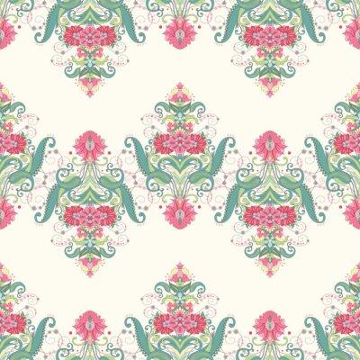 Fototapete Vektor nahtlose Hintergrund. Schönes orientalisches Blumenmuster besteht aus Grenzen. Zartes Grün und Rosa.