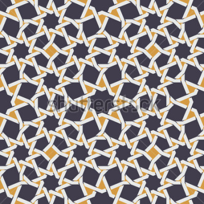 Fototapete Vektor-nahtlose islamische Stern-Linie im gelben und blauen geometrischen Muster-Zusammenfassungs-Hintergrund