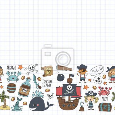 Vektor Nahtlose Muster Piraten Partei Für Kinder Kindergarten