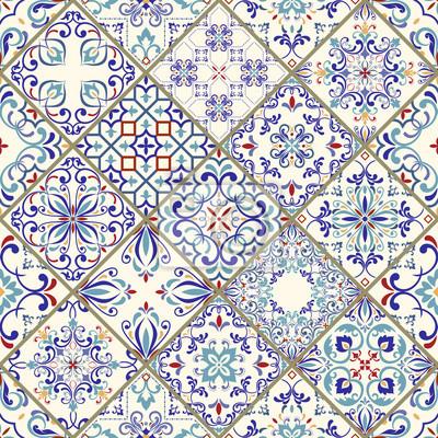 Vektor nahtlose textur. schönes mega-patchwork-muster für design ...