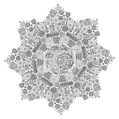 Vektor-ornament mit blumen, herzen, sterne, runden. gekritzel ...