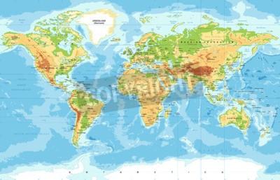 Fototapete Vektor physische Weltkarte