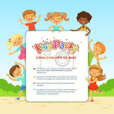poster fur kinderzimmer, vektor poster für kinder party. lustige verschiedene kinder in, Design ideen