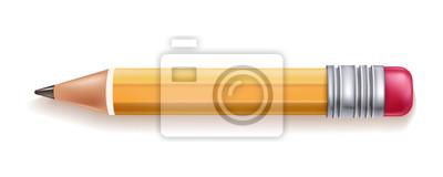 Fototapete Vektor realistische gelbe Holz Bleistift Radiergummi