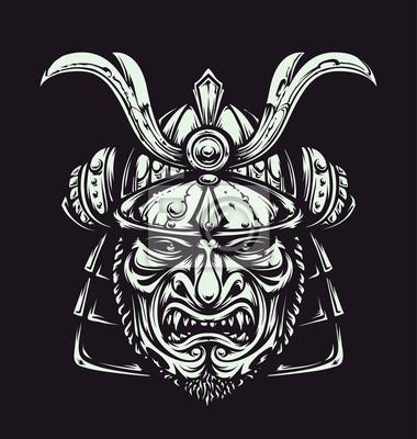 Vektor Samurai Maske Fototapete Fototapeten Mittelalter Ninja