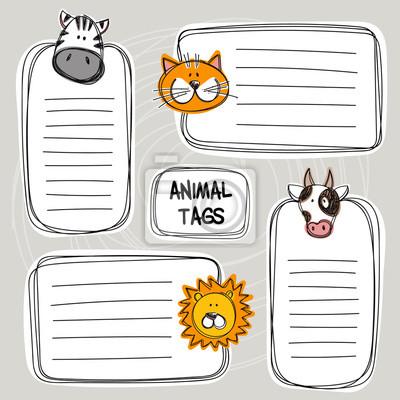Vektor-Satz von Hand gezeichnet lustige Doodle-Tags mit Tieren, Skizze-Stil