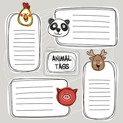Vektor-Satz von Hand gezeichnet lustige Doodle-Tags mit Tieren, Skizze-Stil.