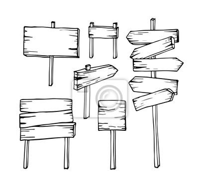 Fototapete Vektor-Satz von Hand zeichnen Holzschilder Pfeil-Zeichen leeren Schild