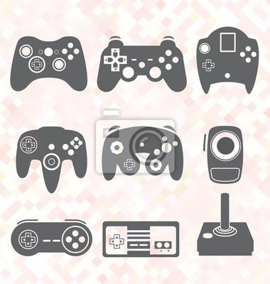 Vektor Set Video Game Controller Silhouetten Fototapete