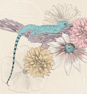 Fototapete Vektor-Skizze der Eidechse mit niedlichen Blumen