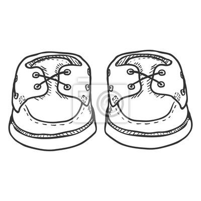 Fototapete: Vektor skizze illustration paar topsider männer schuhe. vorderansicht