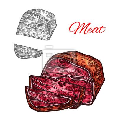 Vektor skizze rindfleisch fleisch klumpen bauernhof frische symbol ...