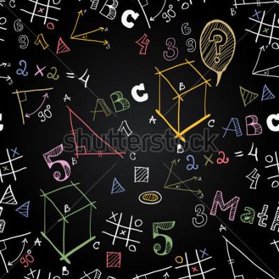 Fototapete Vektor Tafel Schule nahtlose Muster. Zurück zur Schule. Lustige Bildkreide auf einer Tafel. Ikonen der Bildung und des Schullebens.
