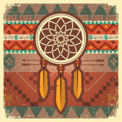Fototapete Vektor-Traumfänger-Plakat mit ethnischen Ornament