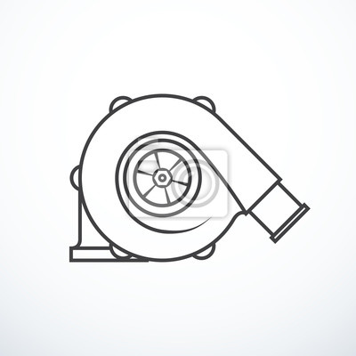 Vektor-turbolader isoliert. turbolader-symbol fototapete ...